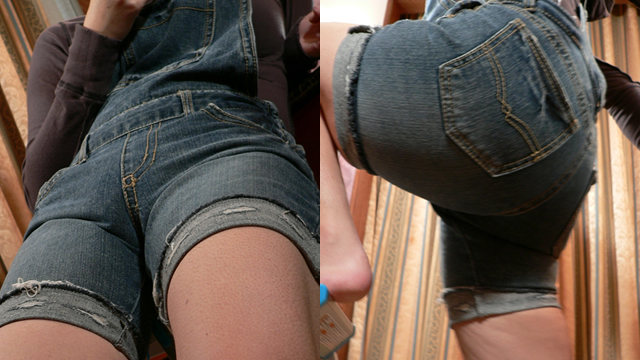 Girl with denim shorts ascent and descent in a stepladder! #1