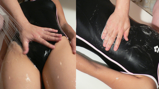 Lotion massage a woman in a swimsuit! ! #1
