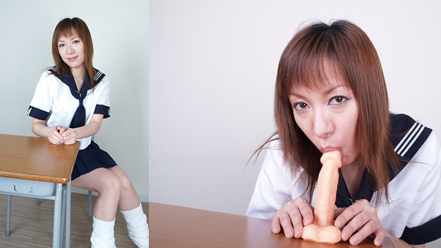 Blowjob with pseudo cock in milf Rumi sailor suit! #1