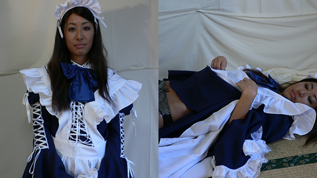 Sunburned beautiful girl Yuu maid's tanned tits! #1